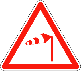 Traffic sign of France: Warning for heavy crosswind