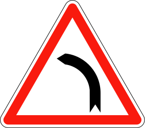 Traffic sign of France: Warning for a curve to the left