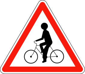 Traffic sign of France: Warning for cyclists