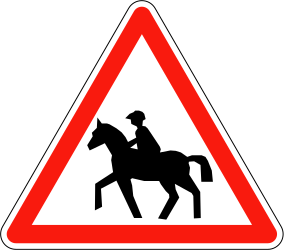 Traffic sign of France: Warning for equestrians