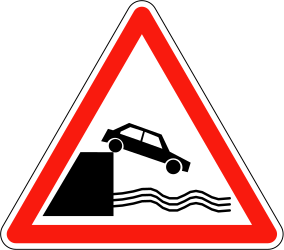 Traffic sign of France: Warning for a quayside or riverbank