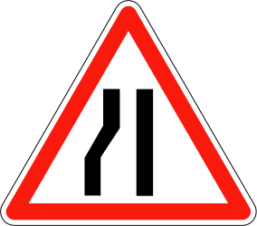 Traffic sign of France: Warning for a road narrowing on the left