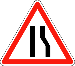 Traffic sign of France: Warning for a road narrowing on the right