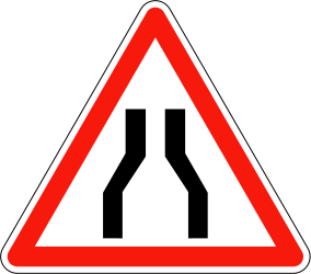 Traffic sign of France: Warning for a road narrowing
