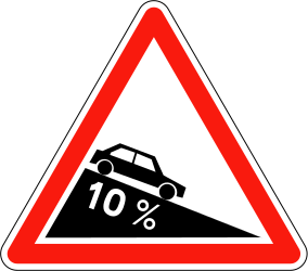 Traffic sign of France: Warning for a steep descent