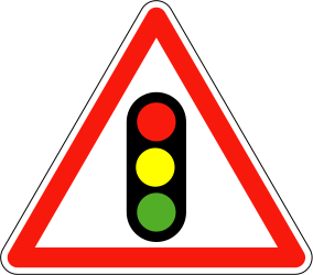 Traffic sign of France: Warning for a traffic light
