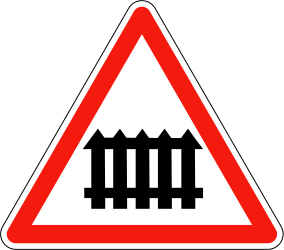Traffic sign of France: Warning for a railroad crossing with barriers