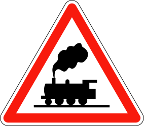Traffic sign of France: Warning for a railroad crossing without barriers