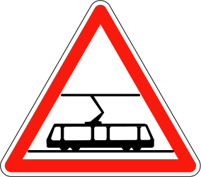 Traffic sign of France: Warning for trams