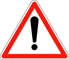 Traffic sign of France: Warning for a danger with no specific traffic sign