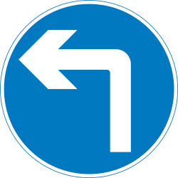 Traffic sign of United Kingdom: Turning left mandatory