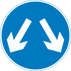 Traffic sign of United Kingdom: Passing left or right mandatory