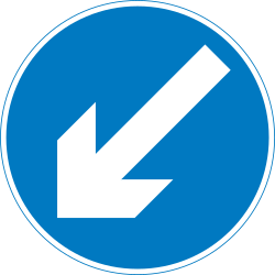 Traffic sign of United Kingdom: Passing left mandatory