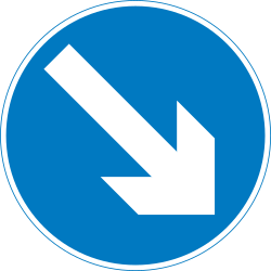 Traffic sign of United Kingdom: Passing right mandatory