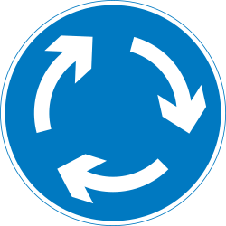 Traffic sign of United Kingdom: Mandatory direction of the roundabout