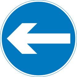 Traffic sign of United Kingdom: Mandatory left