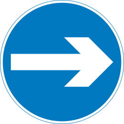 Traffic sign of United Kingdom: Mandatory right