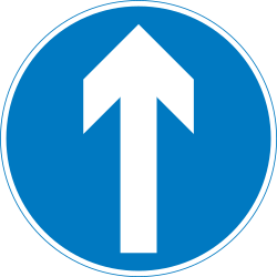 Traffic sign of United Kingdom: Driving straight ahead mandatory