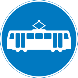 Traffic sign of United Kingdom: Mandatory lane for buses
