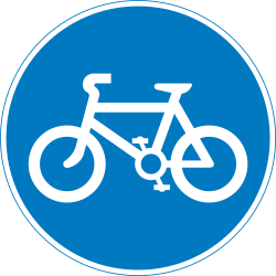 Traffic sign of United Kingdom: Mandatory path for cyclists