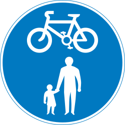 Traffic sign of United Kingdom: Mandatory shared path for pedestrians and cyclists