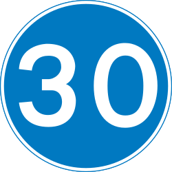 Traffic sign of United Kingdom: Begin of a minimum speed