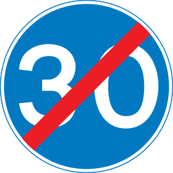 Traffic sign of United Kingdom: End of the minimum speed