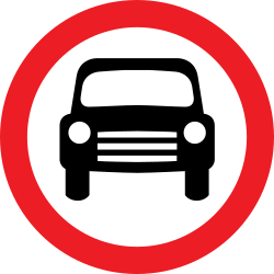 Traffic sign of United Kingdom: Cars prohibited