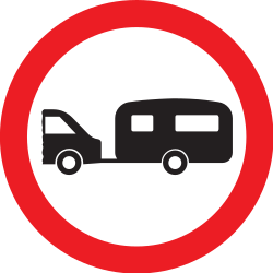 Traffic sign of United Kingdom: Caravans prohibited