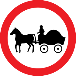 Traffic sign of United Kingdom: Horse carts prohibited