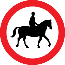 Traffic sign of United Kingdom: Equestrians prohibited