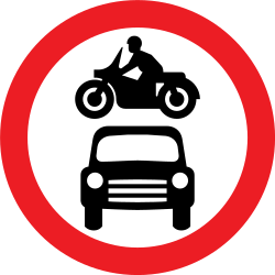 Traffic sign of United Kingdom: Motorcycles and cars prohibited