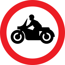Traffic sign of United Kingdom: Motorcycles prohibited