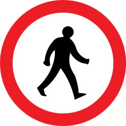 Traffic sign of United Kingdom: Pedestrians prohibited