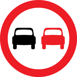 Traffic sign of United Kingdom: Overtaking prohibited