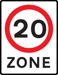 Traffic sign of United Kingdom: Begin of a zone with speed limit