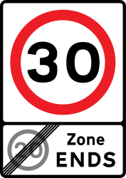 Traffic sign of United Kingdom: End of the zone with speed limit