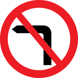 Traffic sign of United Kingdom: Turning left prohibited