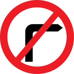 Traffic sign of United Kingdom: Turning right prohibited