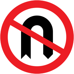 Traffic sign of United Kingdom: Turning around prohibited (U-turn)