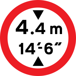Traffic sign of United Kingdom: Vehicles higher than indicated prohibited