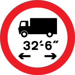Traffic sign of United Kingdom: Vehicles longer than indicated prohibited
