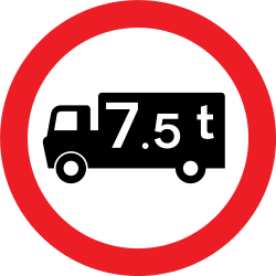 Traffic sign of United Kingdom: Trucks heavier than indicated prohibited