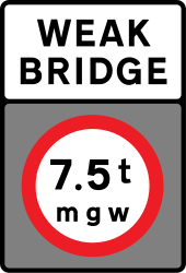 Traffic sign of United Kingdom: Vehicles heavier than indicated prohibited