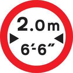 Traffic sign of United Kingdom: Vehicles wider than indicated prohibited