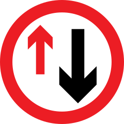Traffic sign of United Kingdom: Road narrowing, give way to oncoming drivers