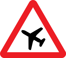 Traffic sign of United Kingdom: Warning for low-flying aircrafts