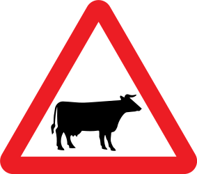 Traffic sign of United Kingdom: Warning for cattle on the road