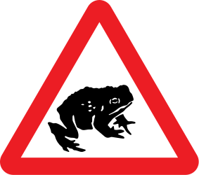Traffic sign of United Kingdom: Warning for frogs on the road