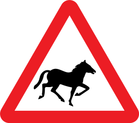 Traffic sign of United Kingdom: Warning for wild horses on the road